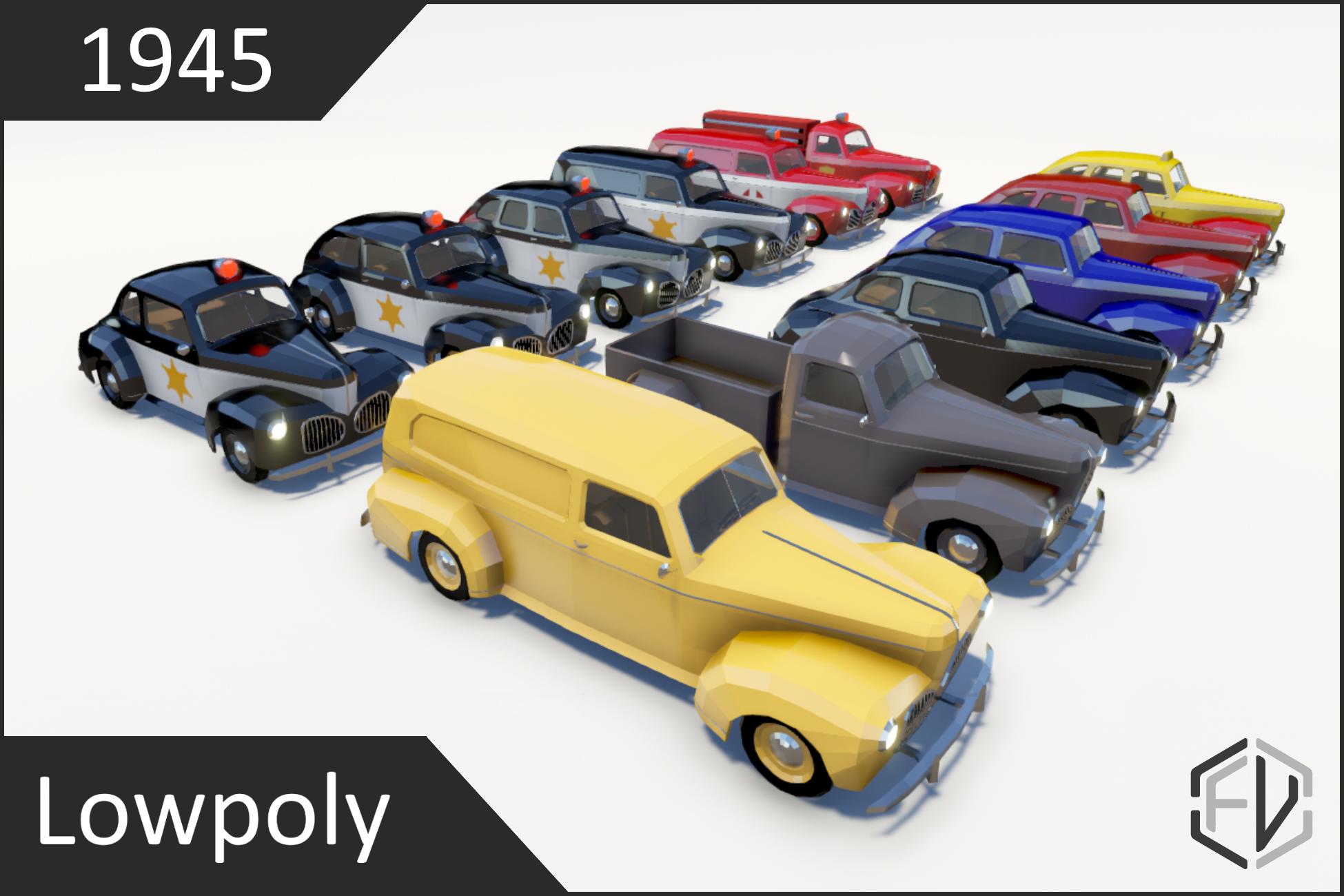 Lowpoly Vintage Car Pack 1940