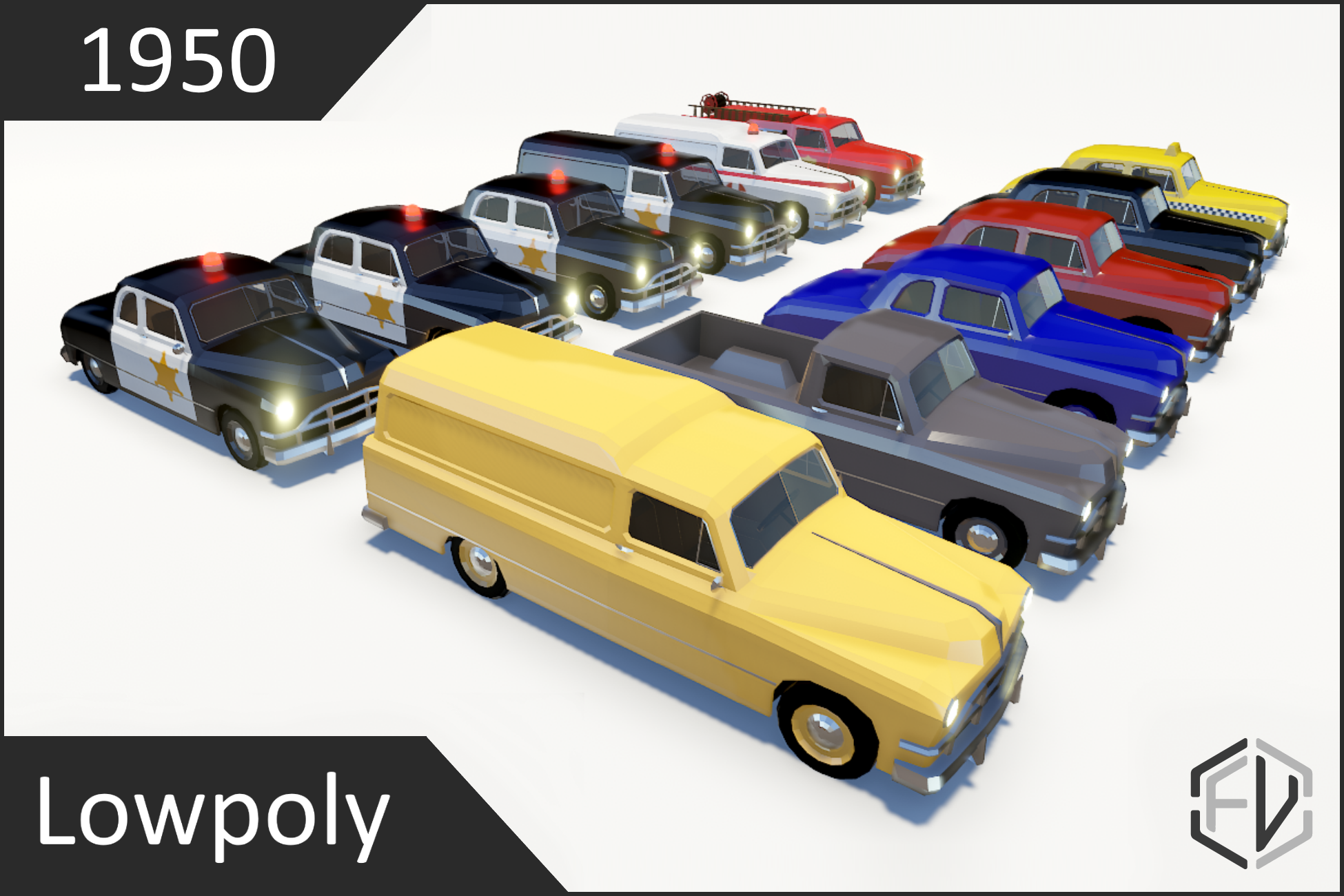 Lowpoly Vintage Car Pack 1950