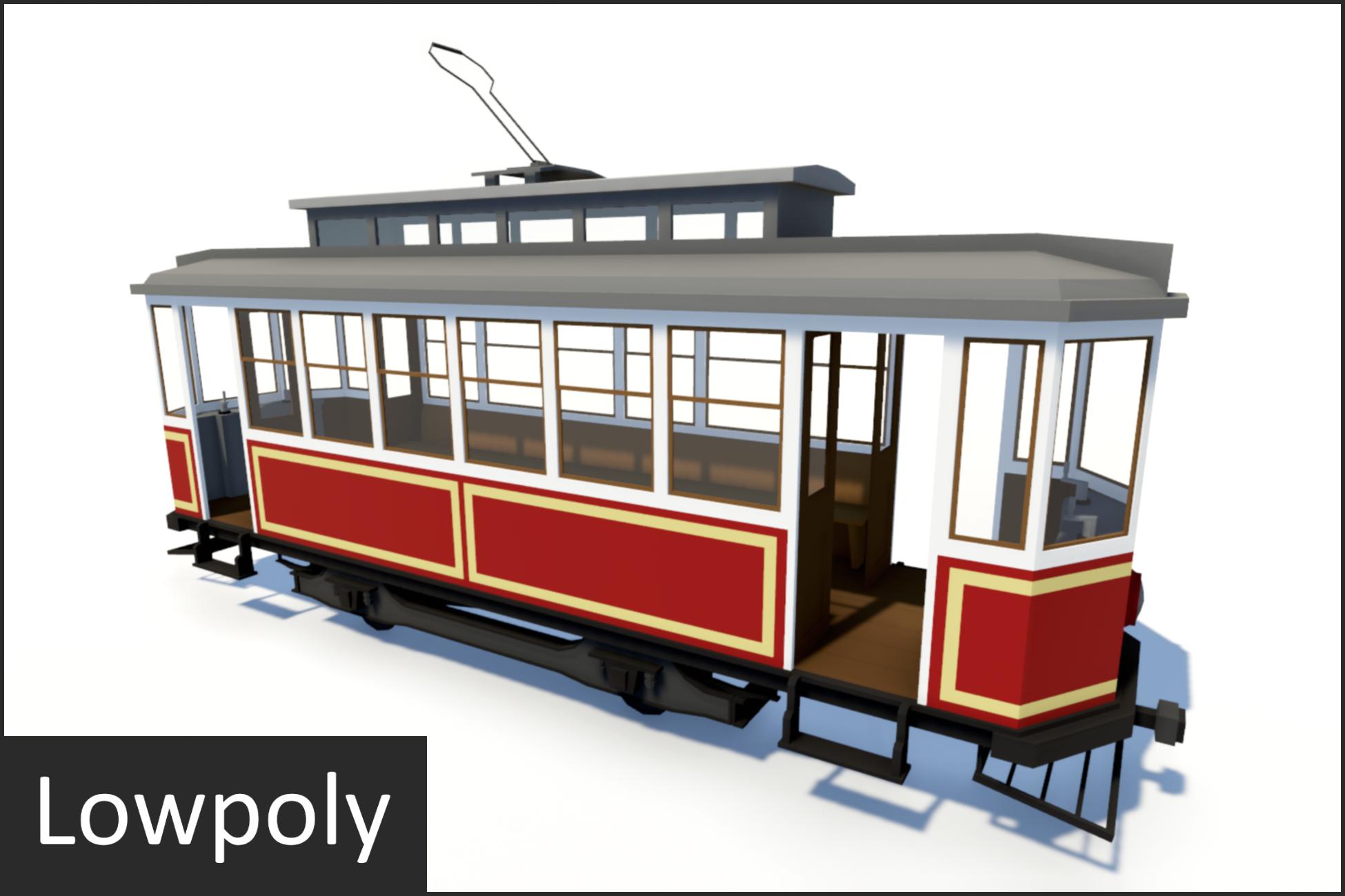 Lowpoly VIntage Streetcar