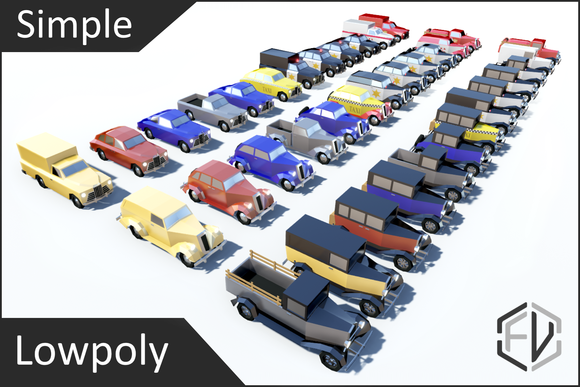 Lowpoly Simple Vintage Car Pack