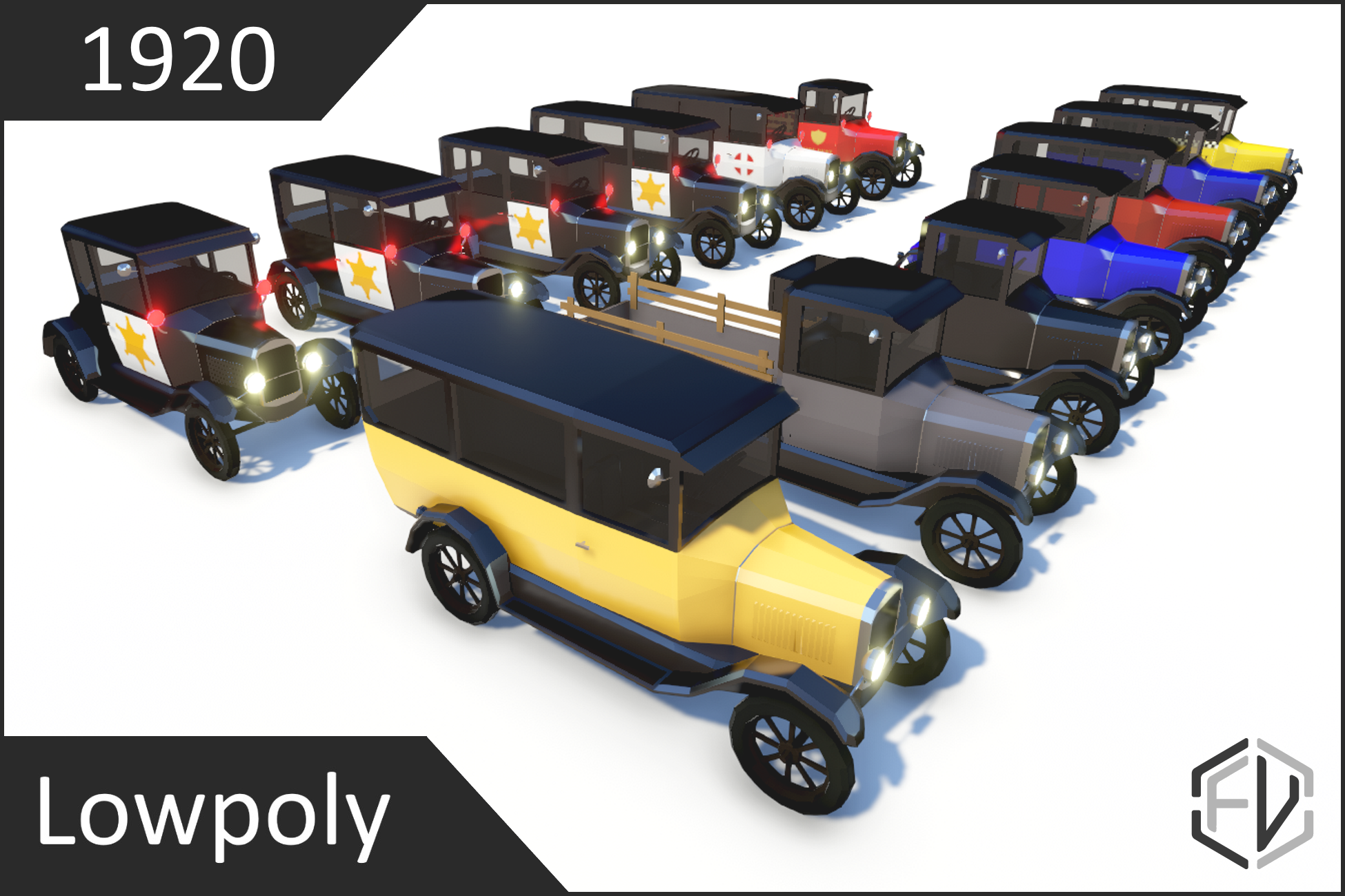 Lowpoly Vintage Car Pack 1920