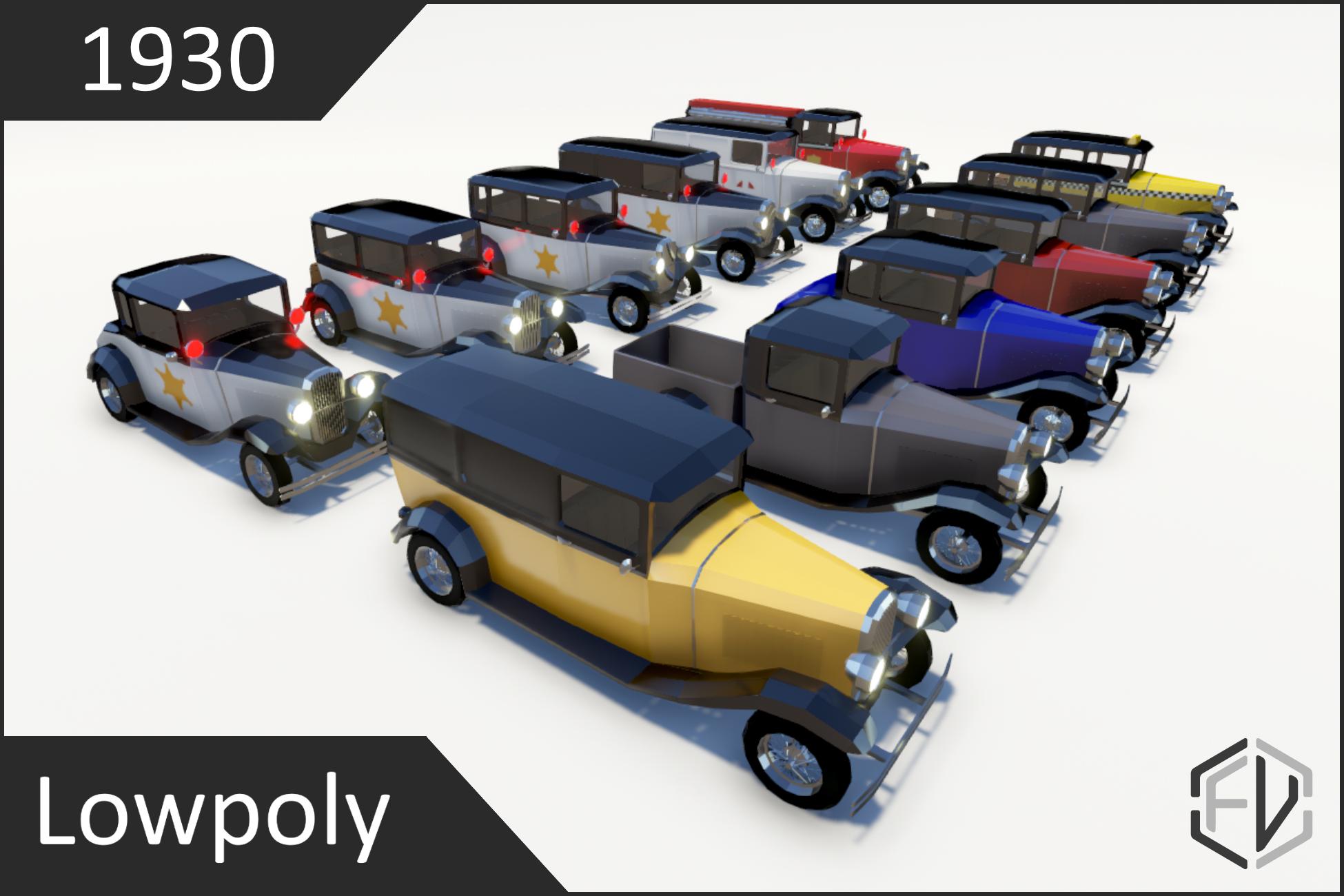 Lowpoly Vintage Car Pack 1930