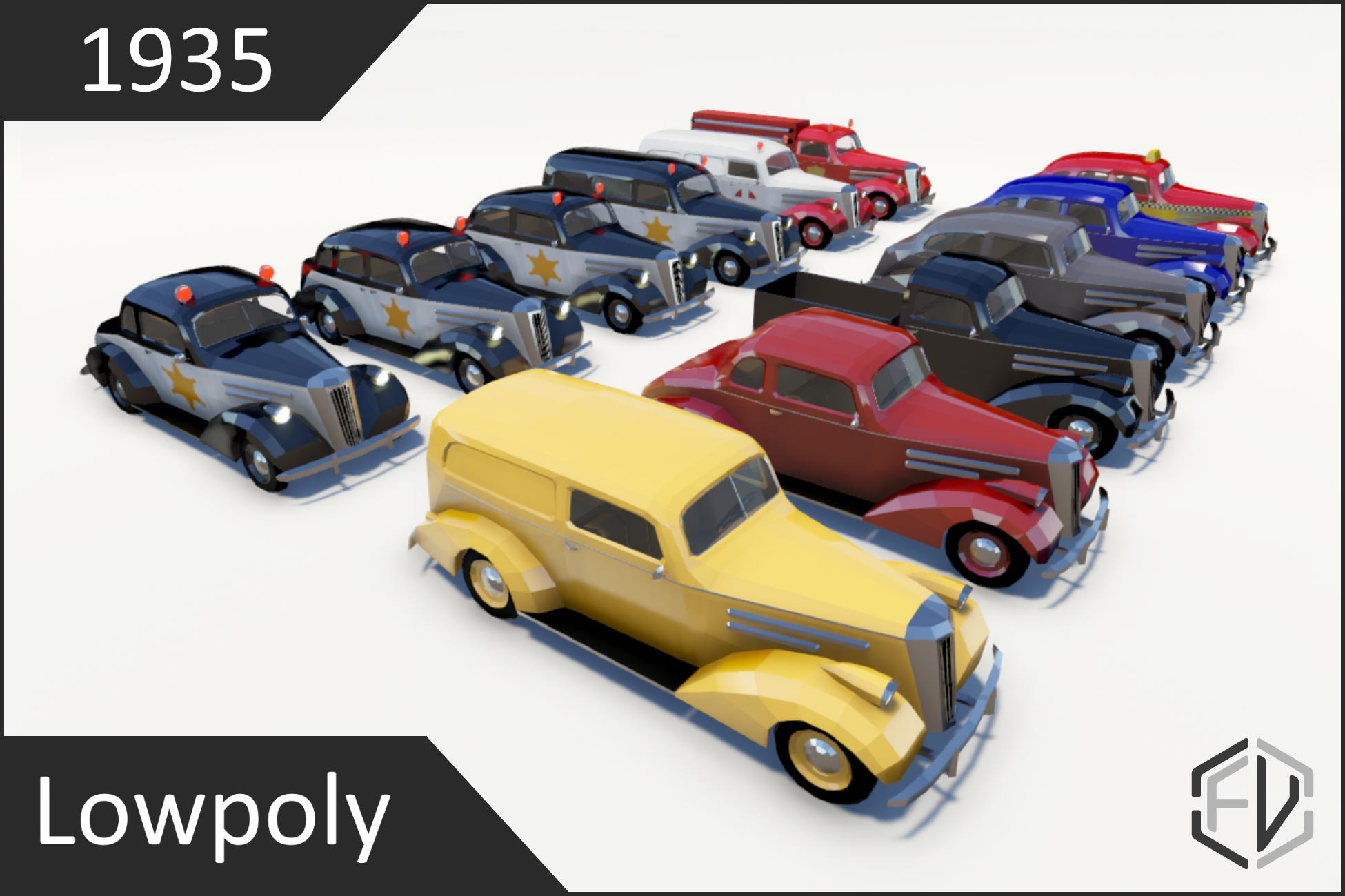 Lowpoly Vintage Car Pack 1935
